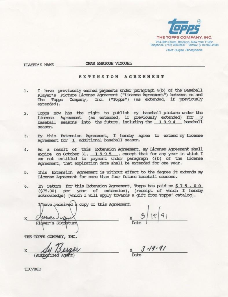 Omar Vizquel signed Topps contract extension dated 3/19/1991 - just before his third MLB season