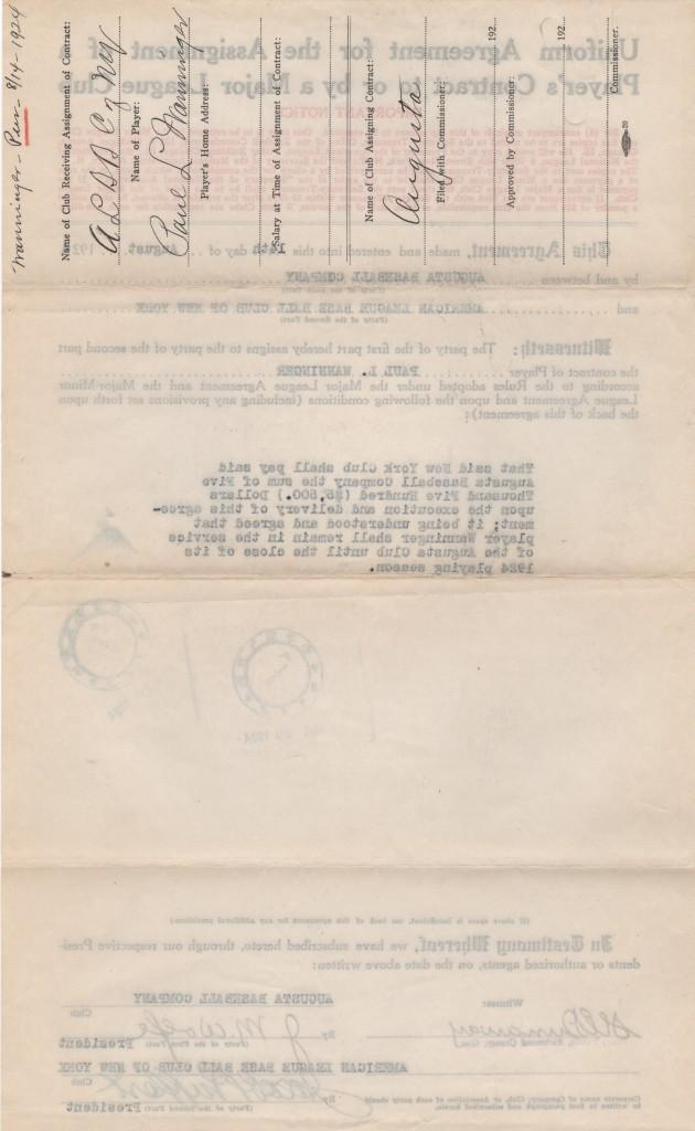 Reverse of the document sending Wanninger to the minor leagues