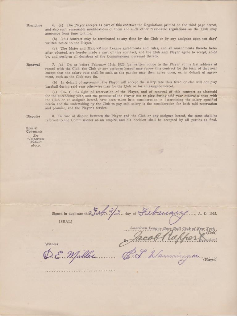 Signature page for Wanninger's 1925 contract - also signed by HoF Yankee owner Jacob Ruppert
