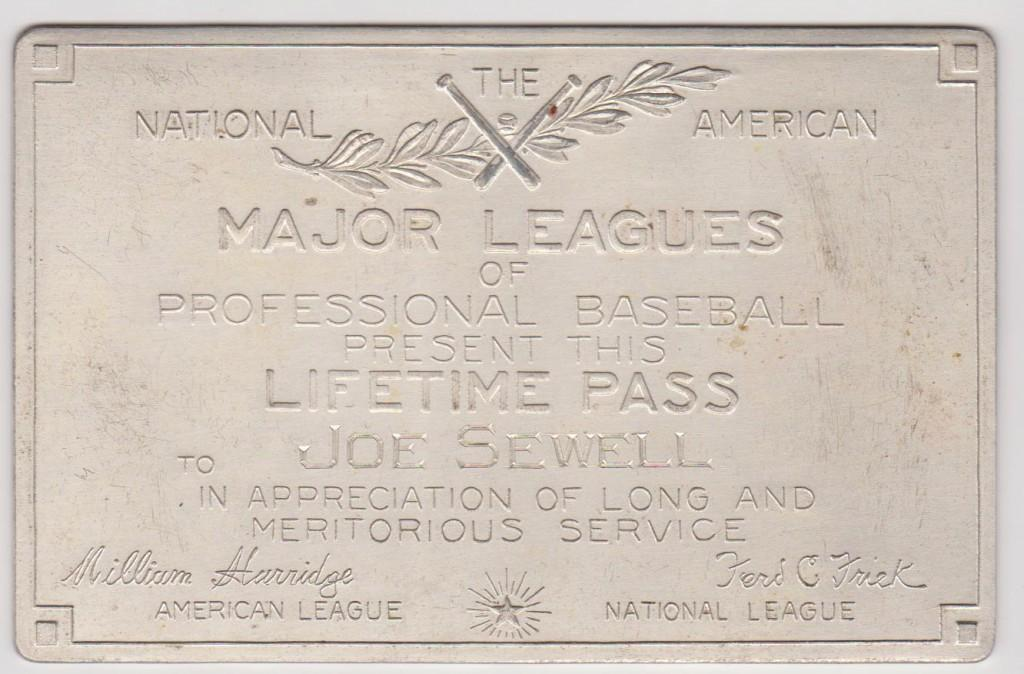 Hall of Fame infielder Joe Sewell also qualified for a solid silver Lifetime Pass