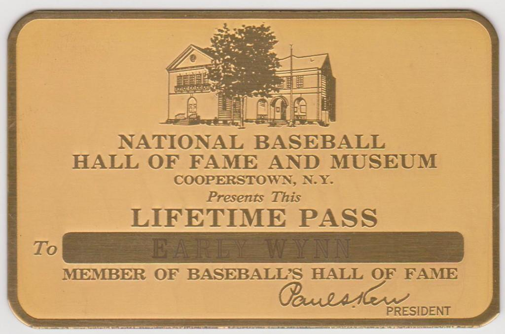 Lifetime pass to the Hall of Fame presented to 300-game winner Early Wynn