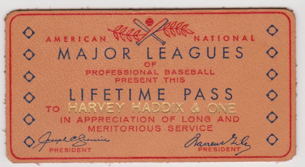 Seldom seen leather lifetime pass issued to Harvey Haddix