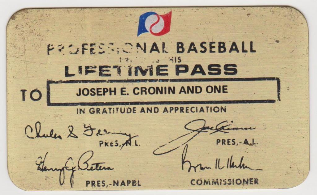 Joe Cronin's lifetime pass to all of professional baseball issued in part by Cronin himself as AL President
