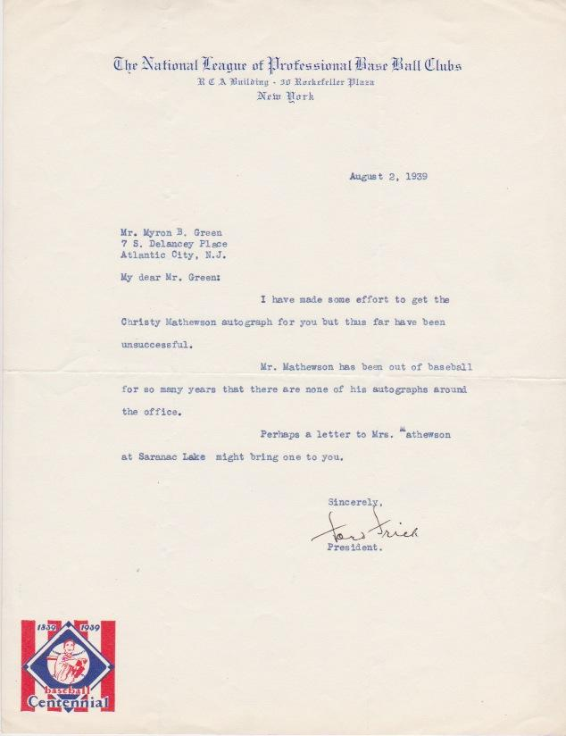 Letter from then-NL President Ford Frick to autograph collector requesting Mathewson's signature