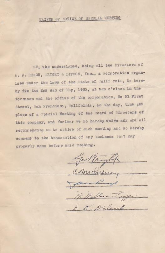 Reach Sporting Goods document signed by George Wright and other luminaries