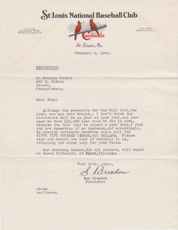 After Musial's 1942 rookie year there was a contentious contract negotiation with St. Louis owner Sam Breadon for what would be Musial's first MVP season