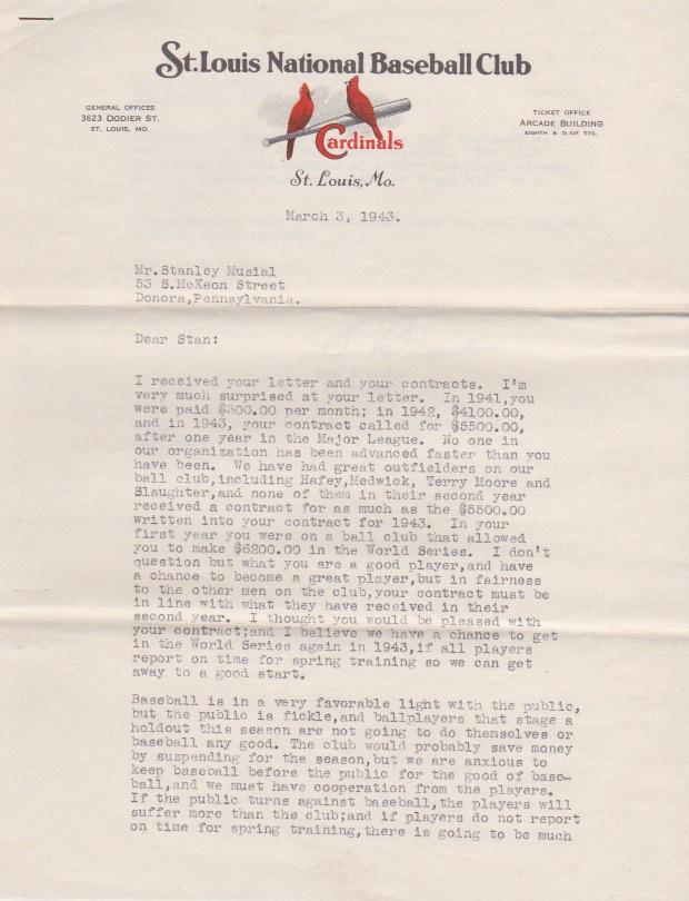 Musial rejected the offer & sent back the contract unsigned; here is Breadon's response