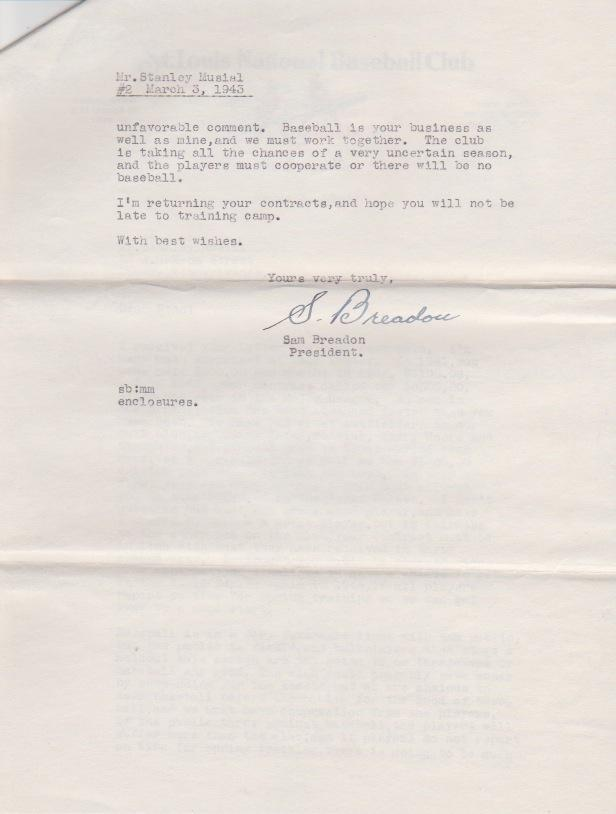 Page 2 of Breadon's response to Musial's rejection