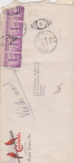 Original envelope with March 3, 1943 postmark