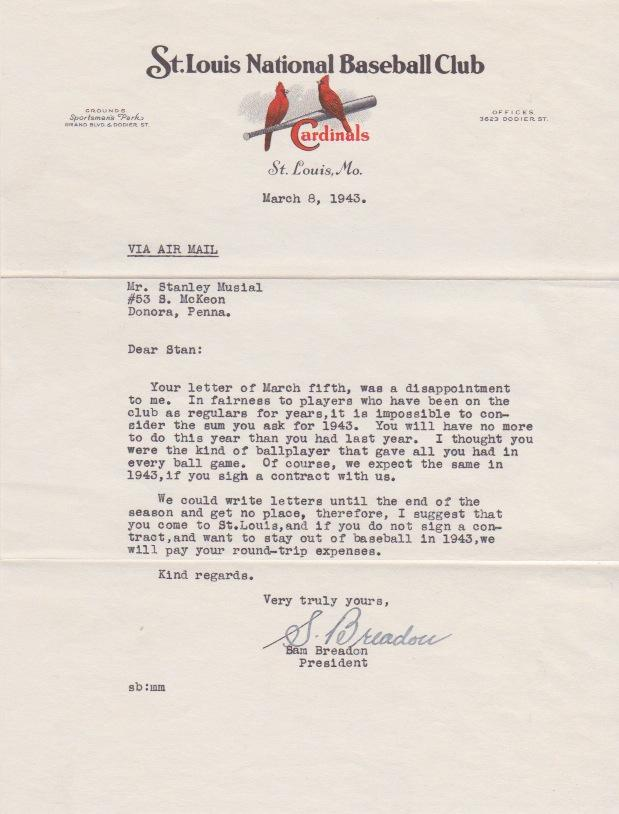 In Breadon's third letter, he scolds his young player who would go on to appear in 24 All Star games, win 7 batting titles, 3 MVP Awards and become a first-ballot Hall of Famer