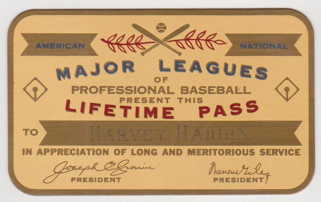 Lifetime pass for Harvey Haddix