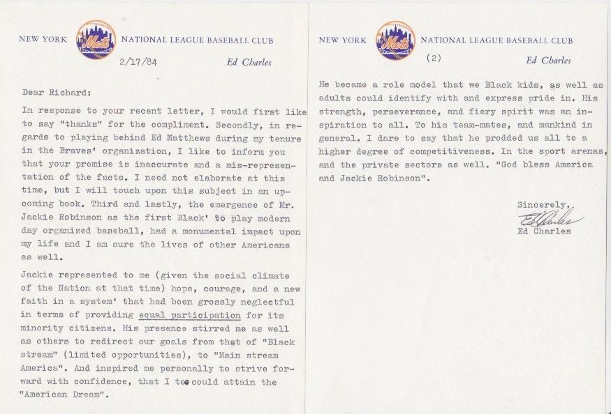 Letter with amazing content from Robinson fan and MLB player Ed Charles