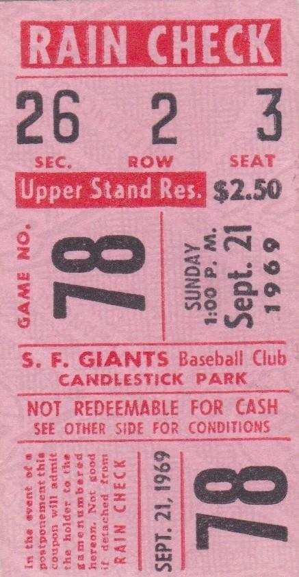 Bill Buckner debut on 9/21/69; this ticket admitted a lucky fan to that game