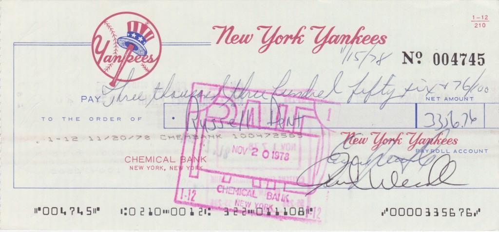 Payroll check for the 1978 post season