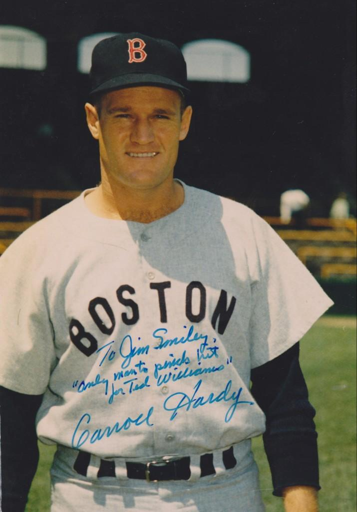 Carroll Hardy, Williams' pinch hitter autographs a photo