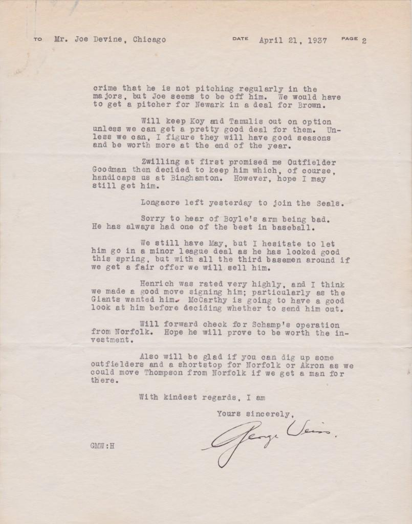Page two of the Weiss letter