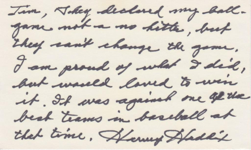 Handwritten note from Haddix reflecting on his perfect game
