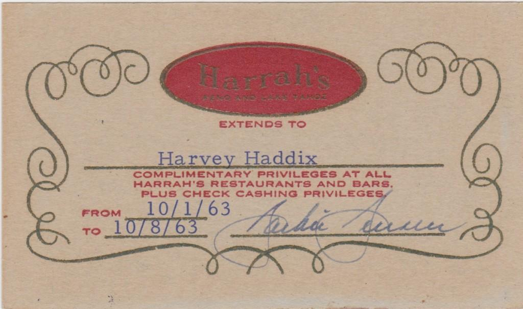 Pass issued to Harvey Haddix for Harrah's Casino in Lake Tahoe, signed by Jackie Jensen
