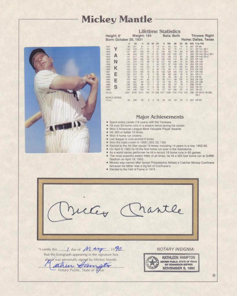 Notarized signature of 20-time All Star Mickey Mantle
