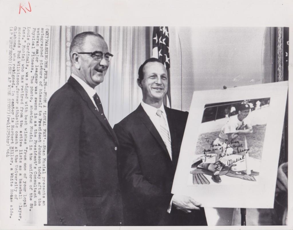 Musial gets sworn in at the White House then poses with LBJ