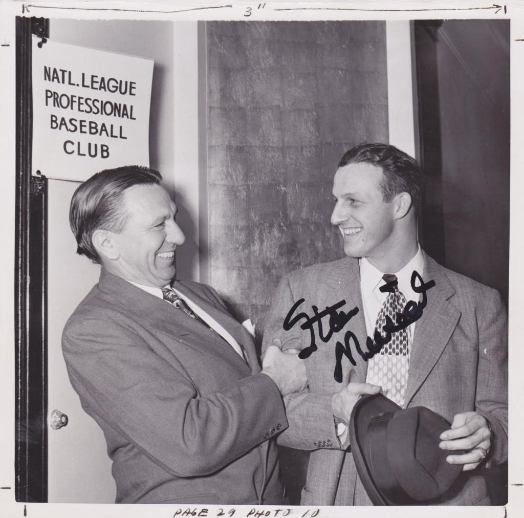 Autographed photo taken with Cardinal manager Eddie Dyer in NYC two days before the MVP picked up the Sid Mercer Award