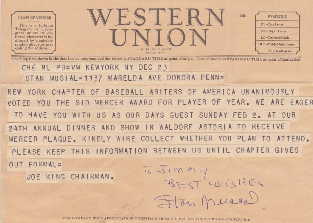 Autographed telegram inviting 1946 MVP Stan Musial to receive the Sid Mercer Award at the Waldorf Astoria in New York City