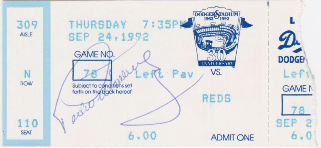 Autographed game-used ticket to Pedro Martinez's debut