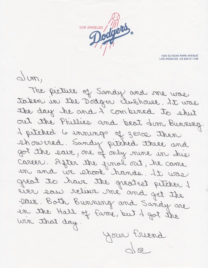 Moeller recounts the thrill of having Koufax relieve him