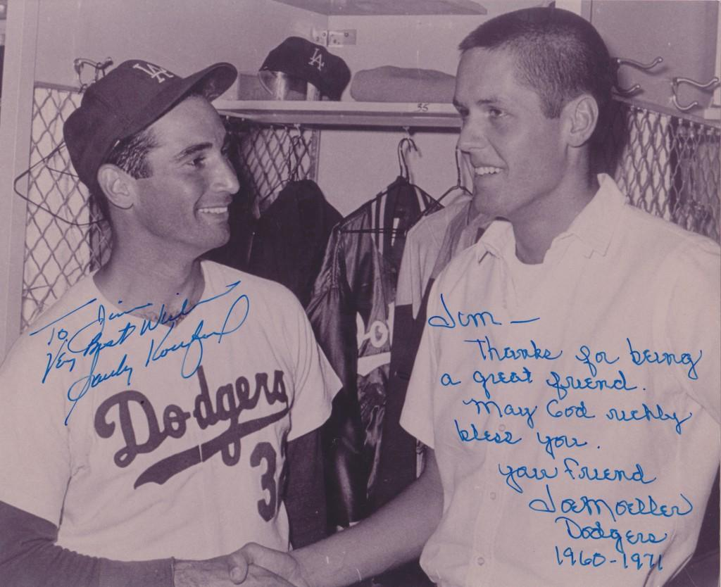 Koufax smiles for the camera after getting the save for 21-year old pitcher Joe Moeller