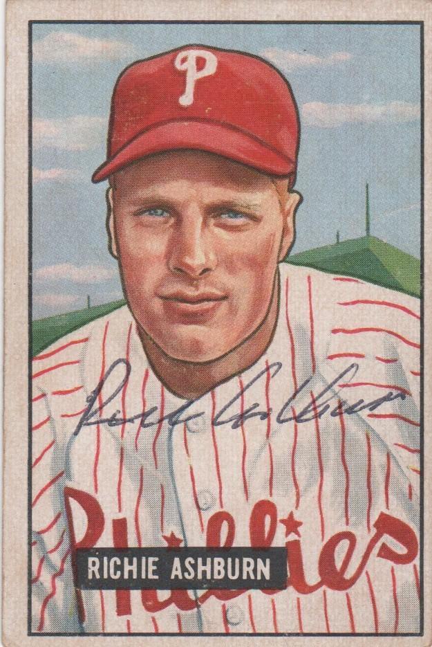 Autographed Richie Ashburn 1951 Bowman
