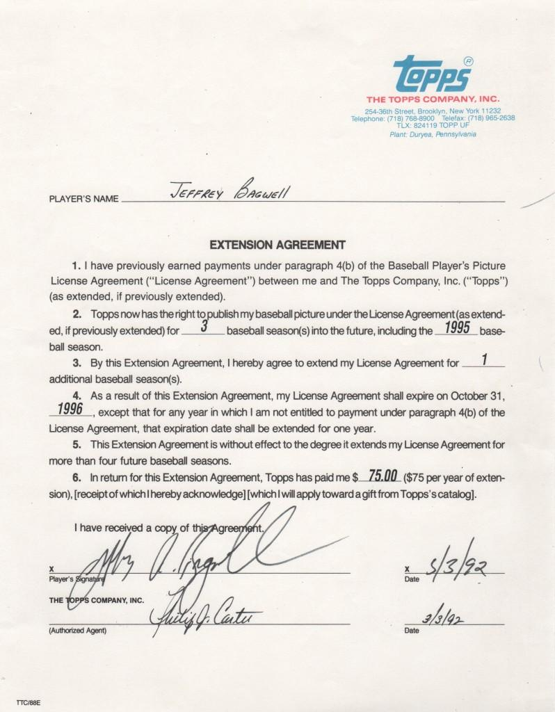 Jeff Bagwell Topps contract extension for 1992-1995