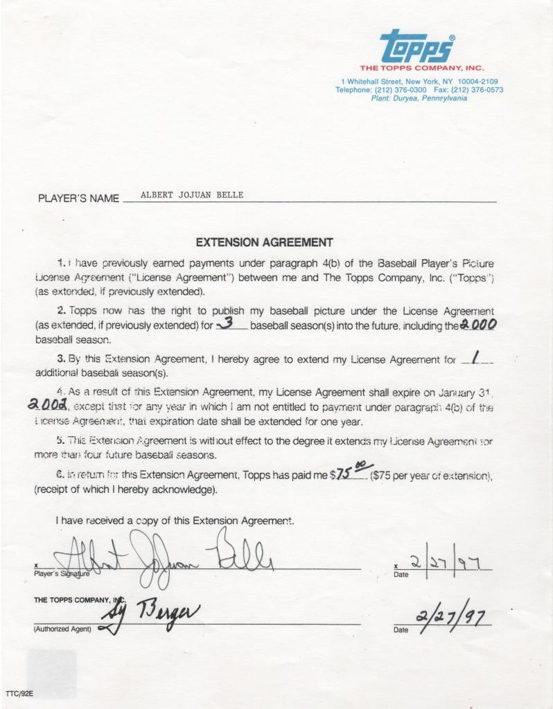 Albert Belle signed 1997 Topps contract extension