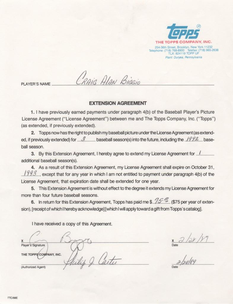 Bagwell and Craig Biggio teamed to form Houston's Killer B's; here's Biggio's Topps contract