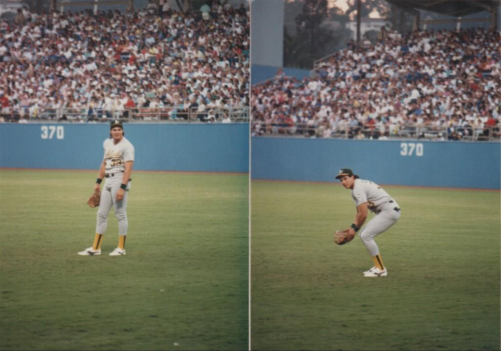 Jose Canseco in right field at Dodger Stadium in the 1988 World Series