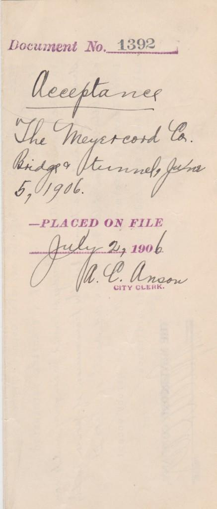 June 5, 1906 document signed by Anson as city clerk of Chicago - likely secretarial