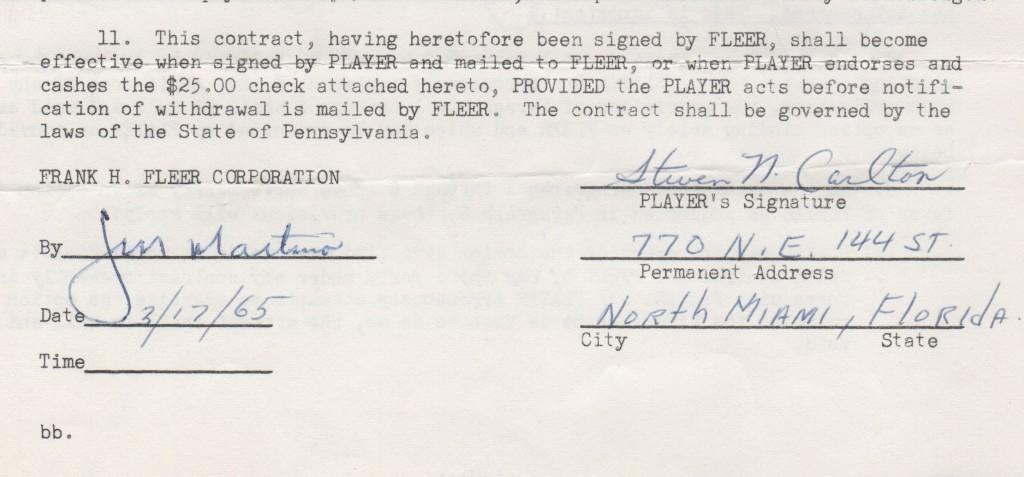 Up close look at Steve Carlton's pre-MLB debut signature