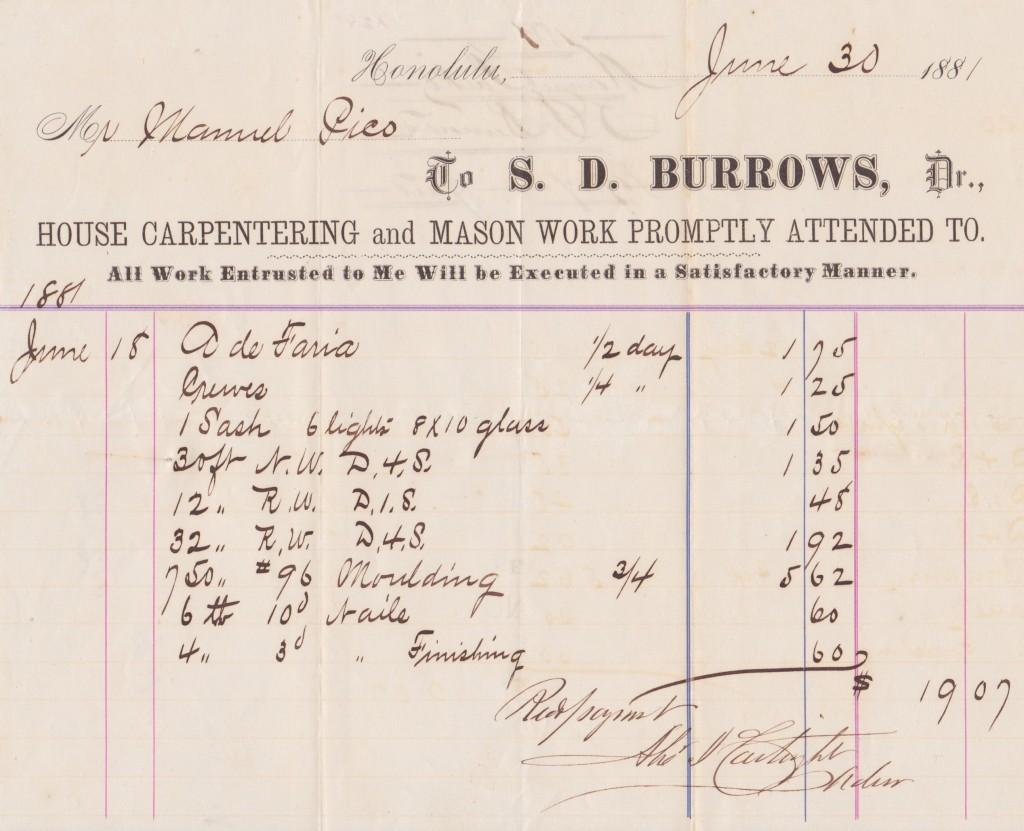 Alexander Cartwright's autograph on a woodworking receipt from 1883