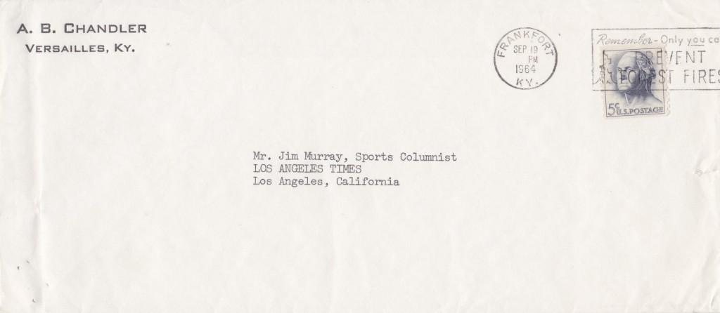 Envelope addressed to Ford Frick Award winner Jim Murray