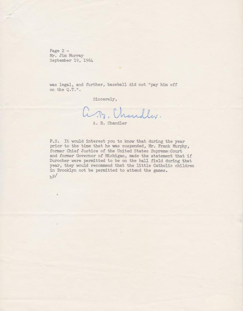 Page two of the Chandler letter about Durocher to Hall of Fame LA Times columnist Jim Murray