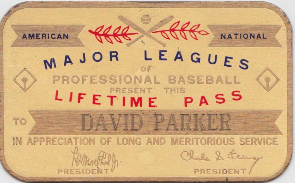 Lifetime pass for Dave Parker