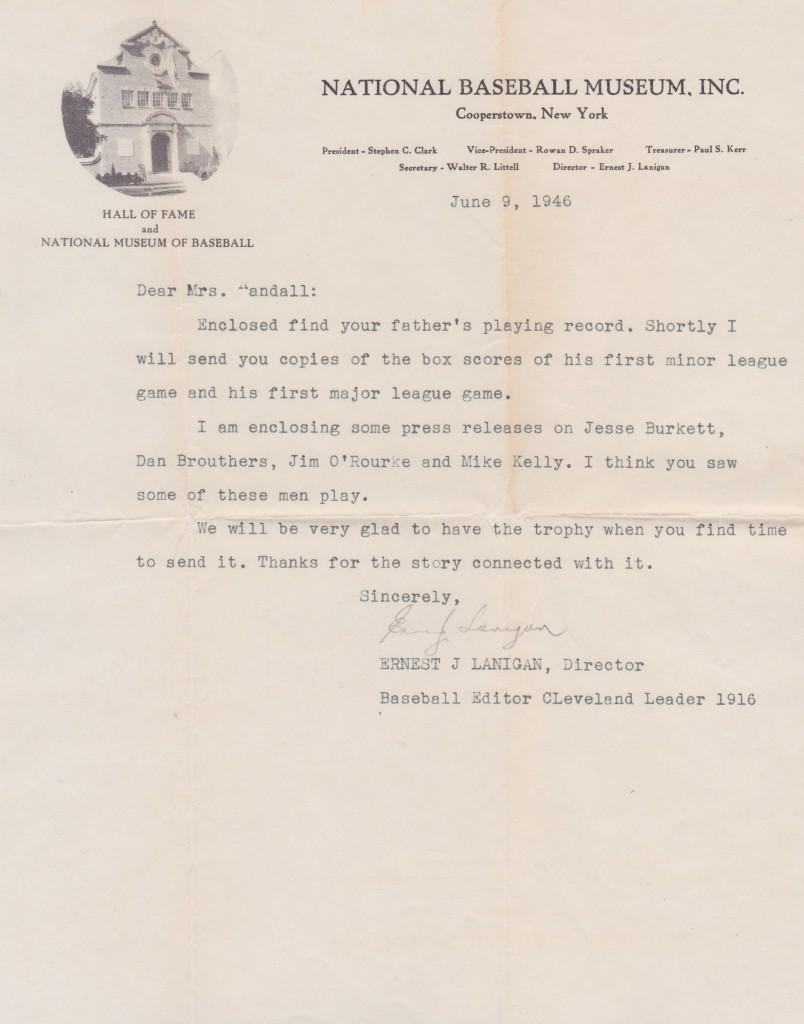 Lanigan again writes to Delahanty's daughter