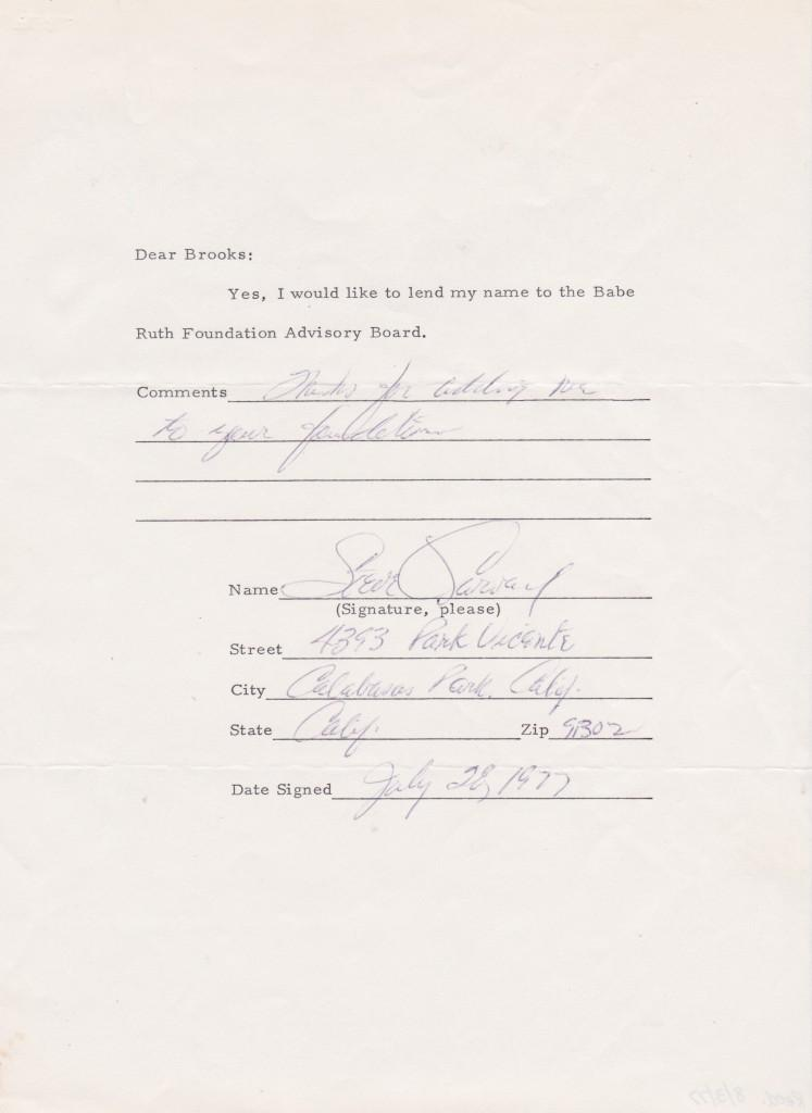 Garvey agrees to lend his name to the Babe Ruth Foundation Advisory Board in 1977