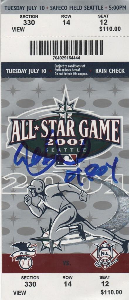 Ichiro Suzuki signed All Star Game ticket from his Rookie of the Year and MVP season