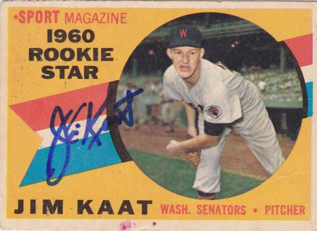 1960 Topps rookie card signed by Jim Kaat