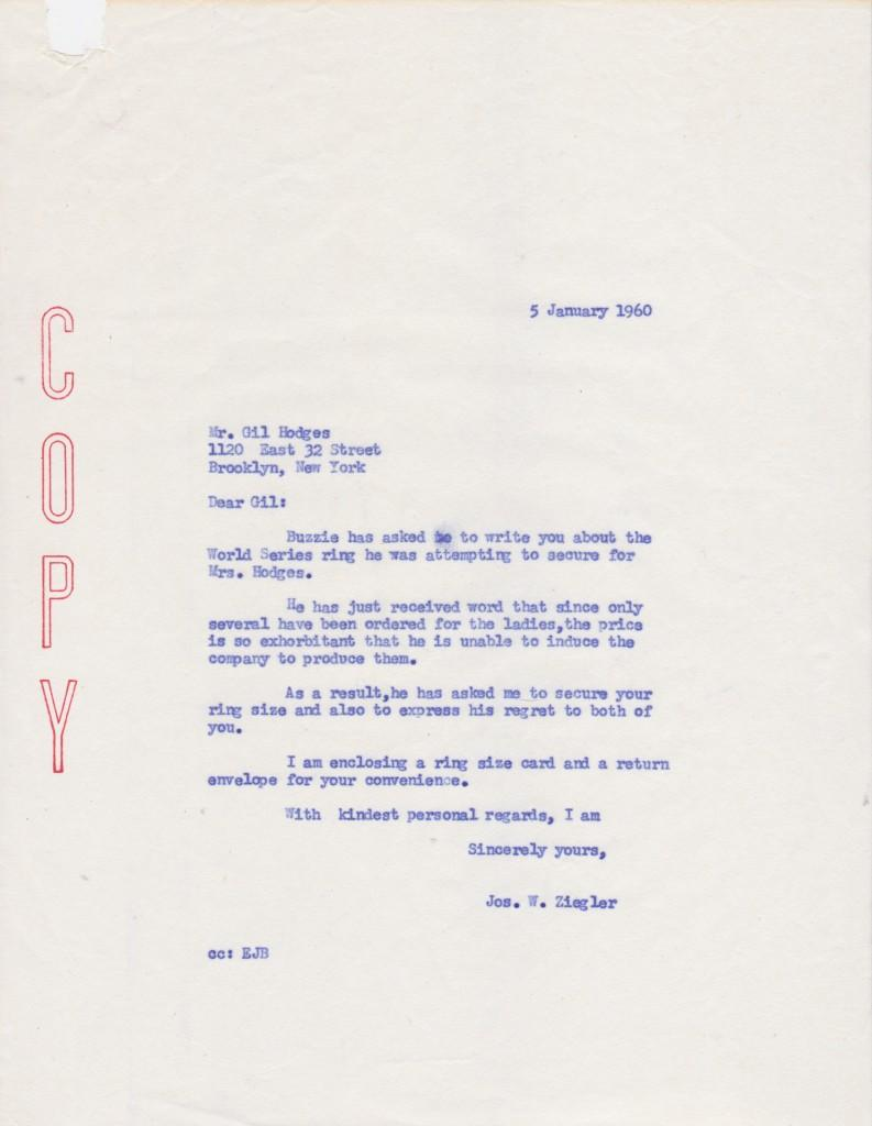File copy letter to Gil Hodges about 1959 World Series ring