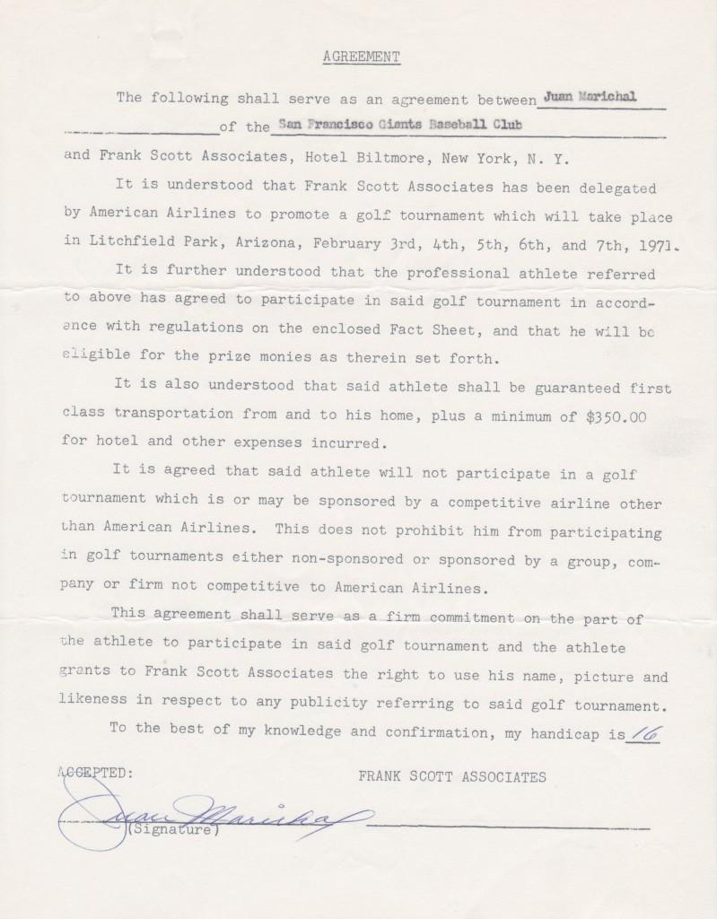 Marichal signs a contract with the first player agent Frank Scott