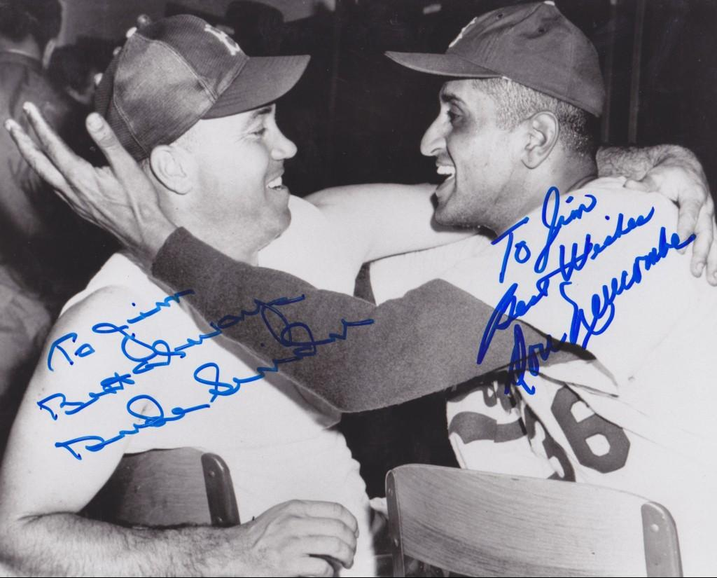 Snider and Don Newcombe signed 8x10 photo
