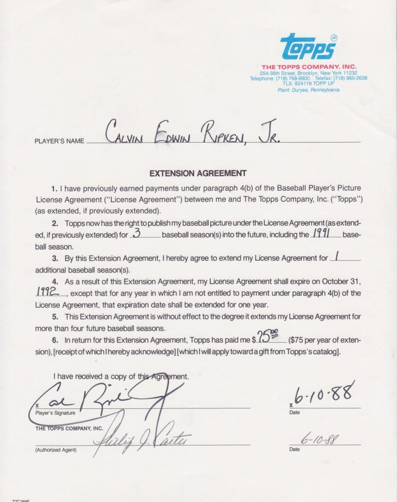 Cal Ripken Jr.'s Topps contract for 1988-1991