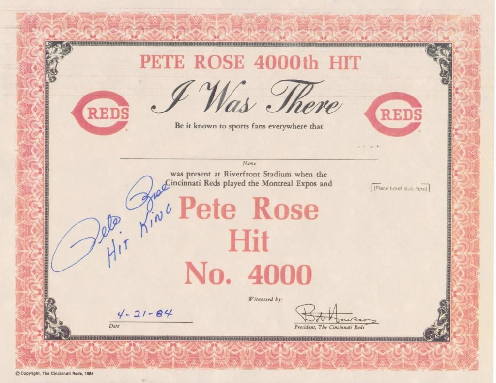 Oddly inaccurate certificate commemorating Pete Rose's 4,000th hit