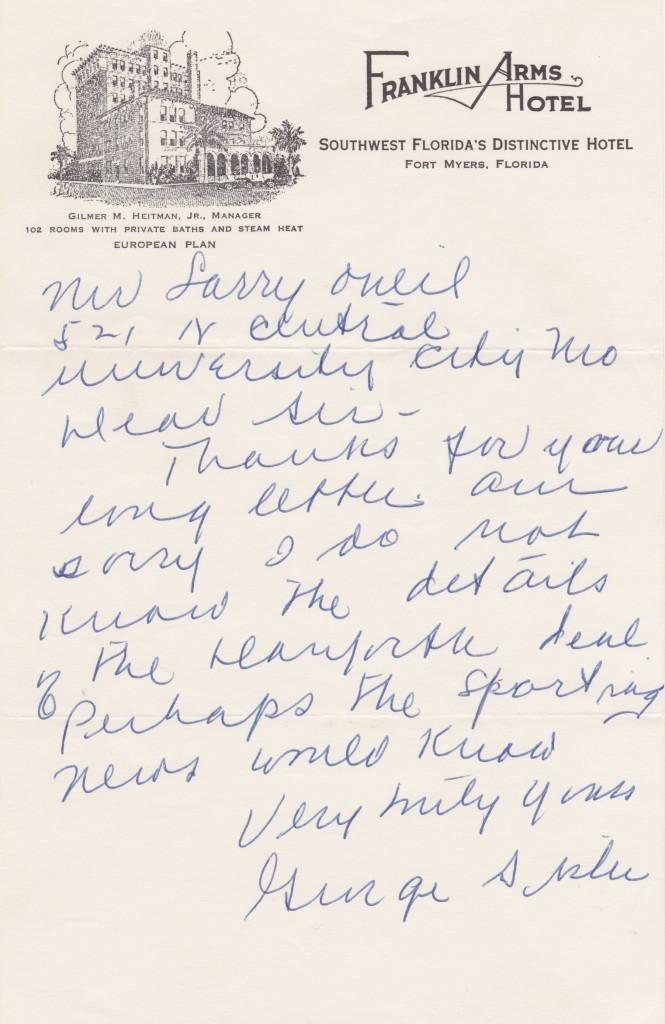 Handwritten letter from George Sisler
